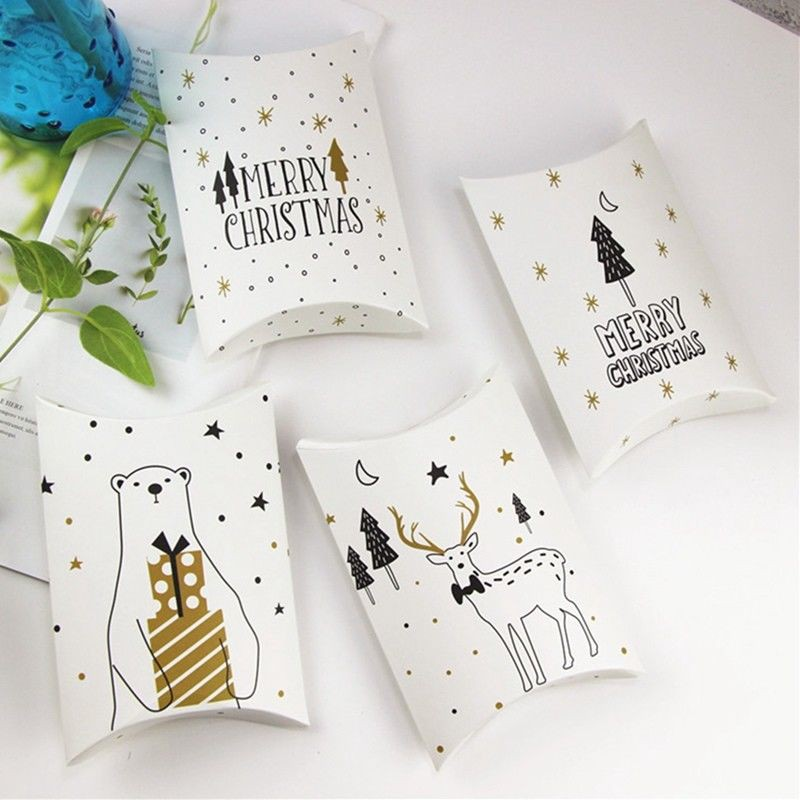 Fun Gold Black Christmas Pillow Party Paper Favor Candy Sweets Gift Boxes