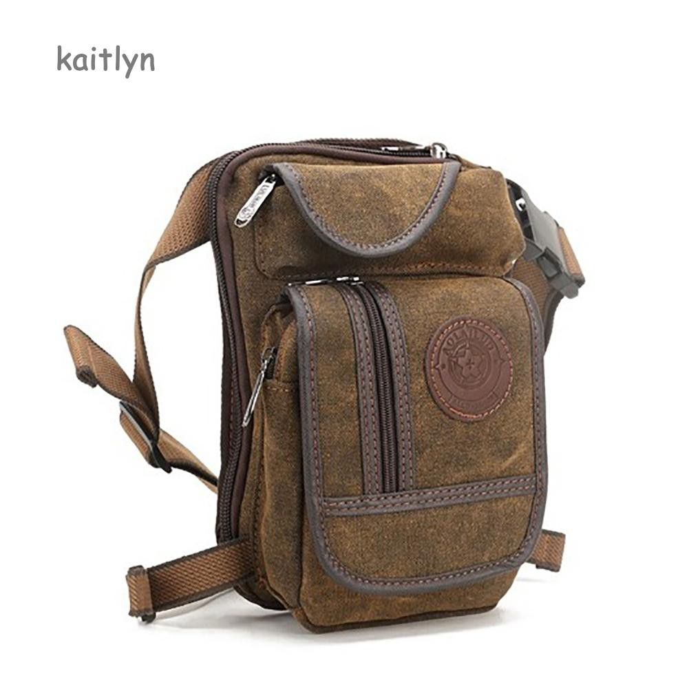 a2606bf4286a Kaitlyn☺Men's Tactical Motorcycle Canvas Drop Leg Bag Hip Waist Pack  Outdoor Bike Pouch