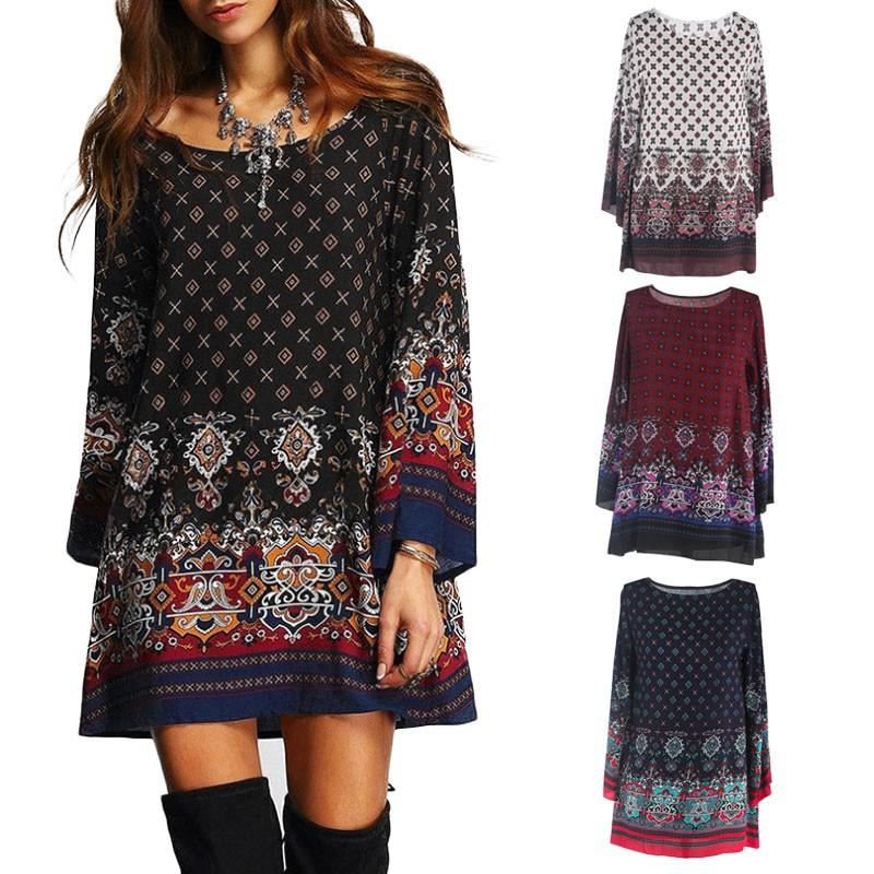 Women Summer Bohemian Dress Print Beach Casual Dress ...