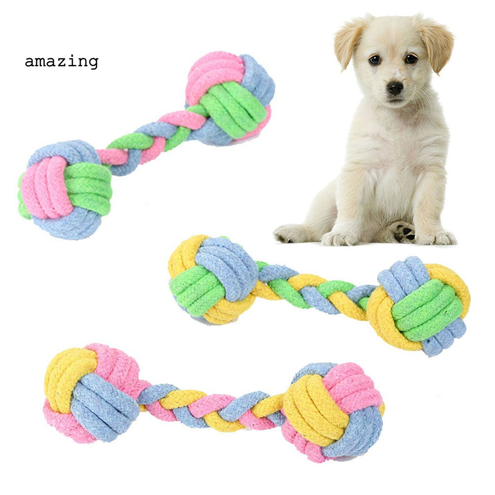 F-blue Braided Rope Dumbbell Pet Bite Toys Puppy Training Molars Tooth Cleaning Cat Dog Toy