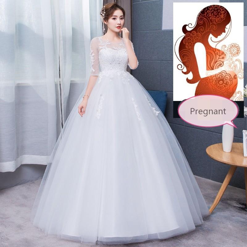 Pregnant Wedding Dress.High Waist Pregnant Half Sleeve Wedding Bridal Gown Dress