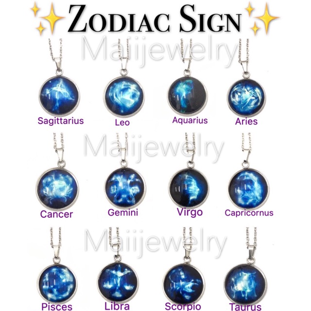 Zodiac Sign Wing Bling Glow In The Dark Moon Necklace