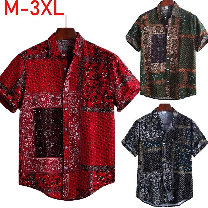 One Nice Mens Ethnic Wind Shirt Fashion Print Short Sleeve Casual Button Down Shirt