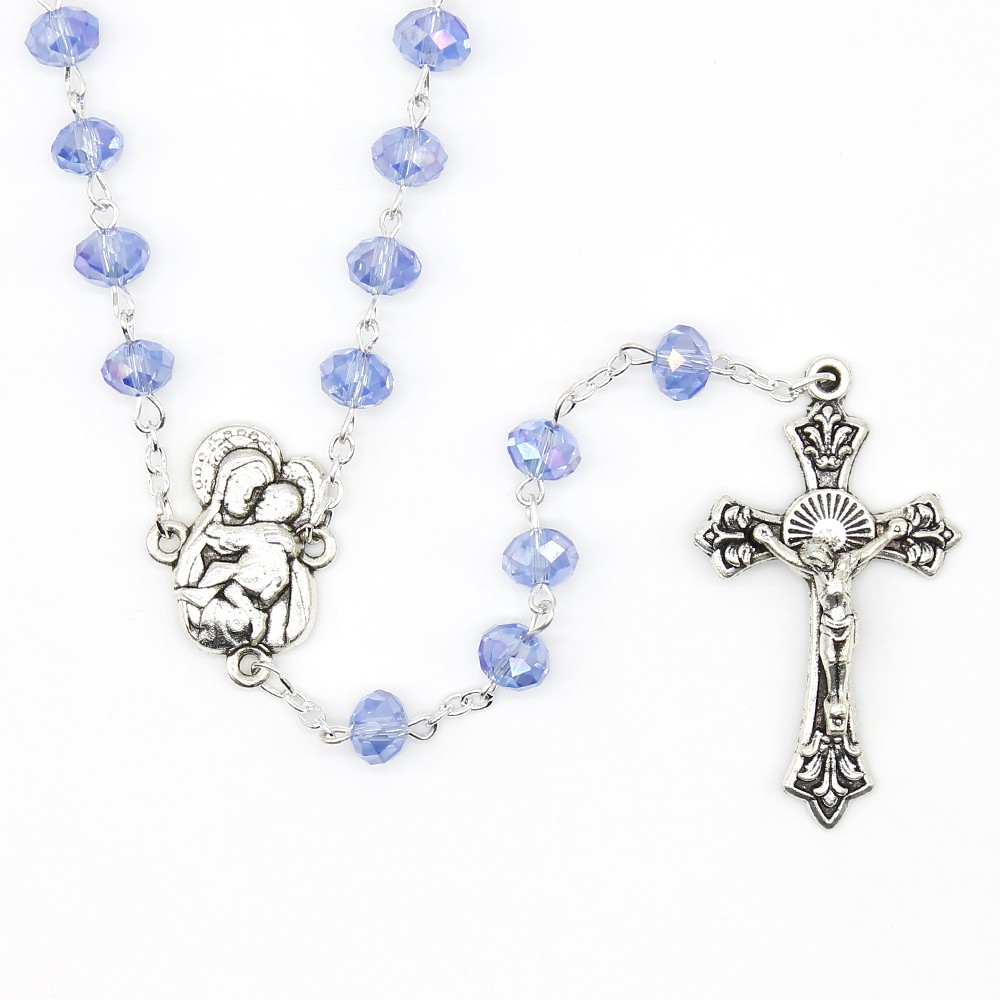 682719942 Virgin Mary & Baby Jesus Rosary Real Crystal Clear Necklace | Shopee  Philippines
