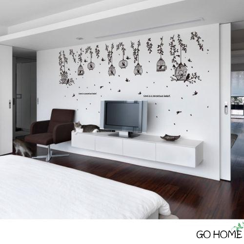 G H Birdcage Wall Sticker House Living Room Wall Decor Shopee Philippines