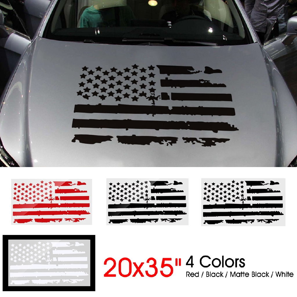 20/'/' x 35/'/' US American Flag Style Vinyl Car Decal Sticker For Jeep Hood Window