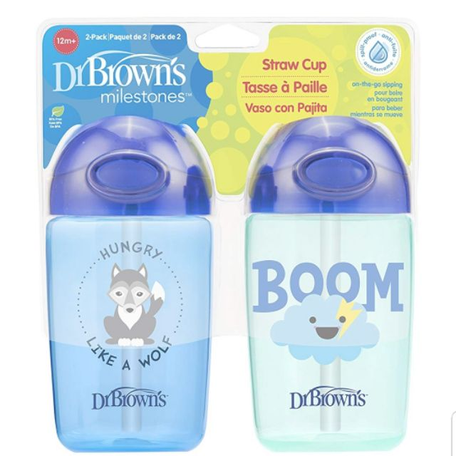 12 ounce Dr 2 Count Brown/'s Milestones Hard Spout Sippy Cup
