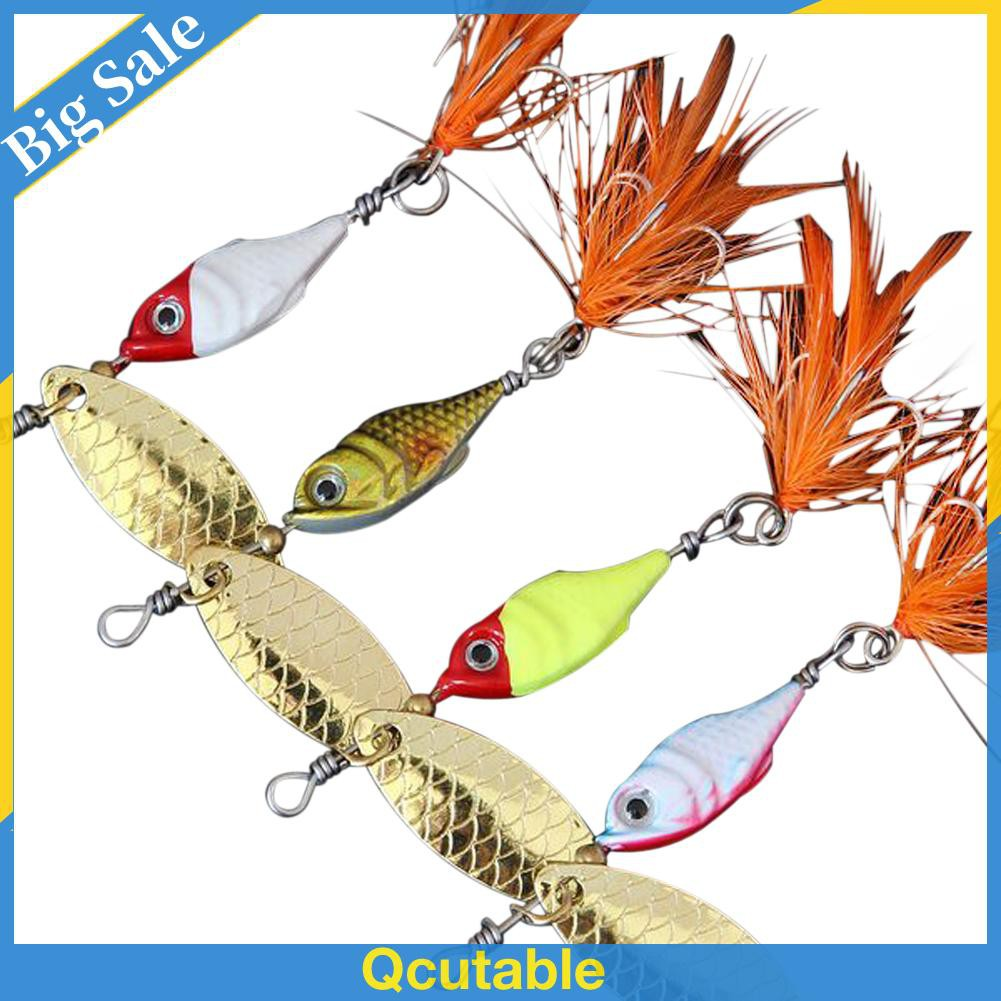 5PCS Colorful Fishing Spoon Lure Treble Feather Hook Spinner baits 9.5g