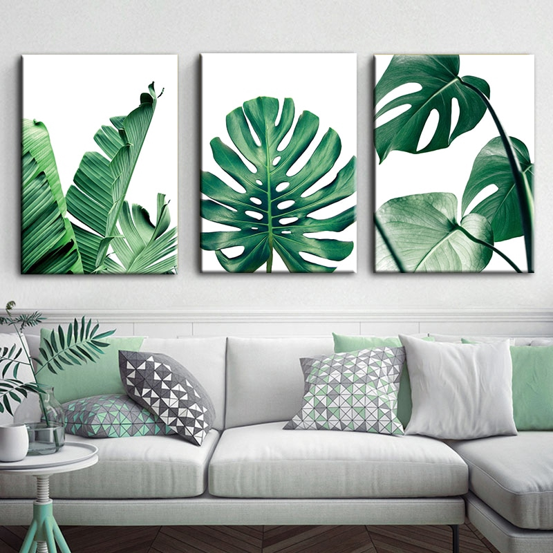 Art Zone Nordic Canvas Painting Modern Prints Plant Leaf Art Posters Prints Green Art Wall Pictures Unframed Shopee Philippines