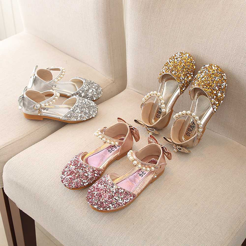 Toddler Kids Baby Girls Pearl Bling Sequins Single Princess Party Shoes Sandals