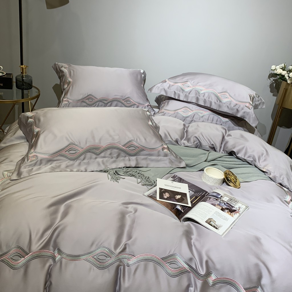 60 Tencel Four Piece Summer Sheet Sleeping Digital Printing Charm Purple Gray Bedding Kit Bed Sheets Quilt Cover Pillow Cover Shopee Philippines