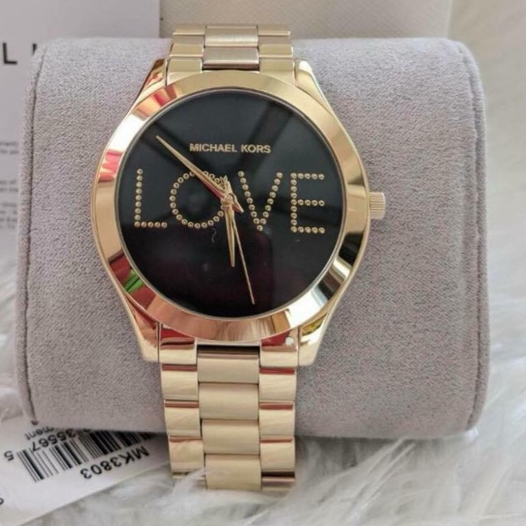 0db0d956f983 Sale Michael Kors Slim Runway MK Love Gold-Tone Watch MK3803 ...