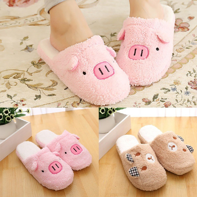 5b2d9582da8f Pig Cute Cotton Shoe Fabric Men Women Slippers Home Slippers ...