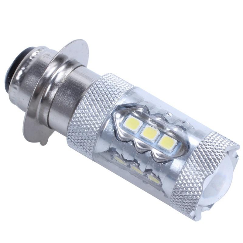 2pcs Xenon White 6000K H6M P15D ATV Motorcycle COB LED Headlight Bulbs