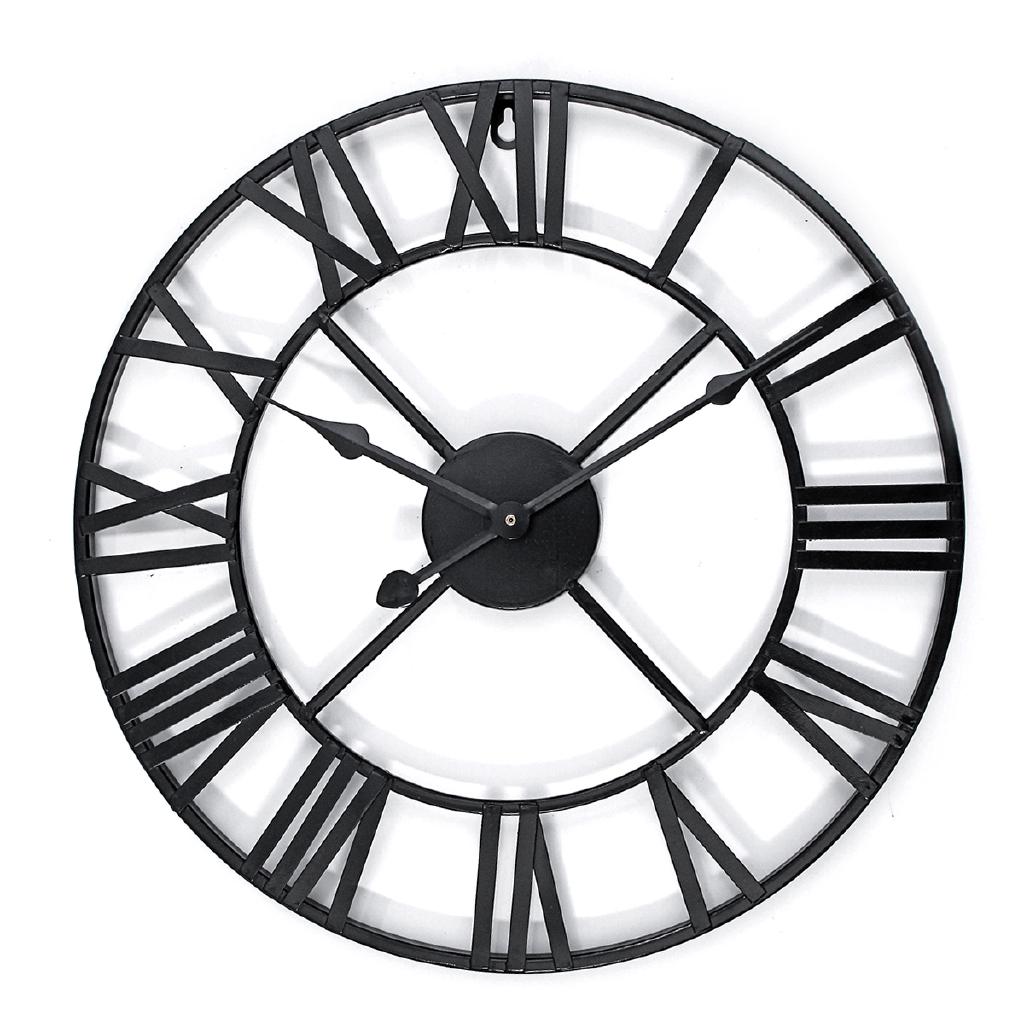 Retro Roman Numeral Wall Clock Metal Indoor Outdoor Vintage Home Round Silent