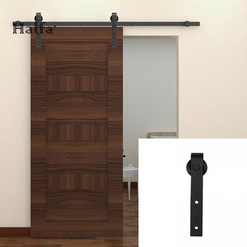 HA_Carbon Steel Sliding Barn Door Hardware Kit Interior ...