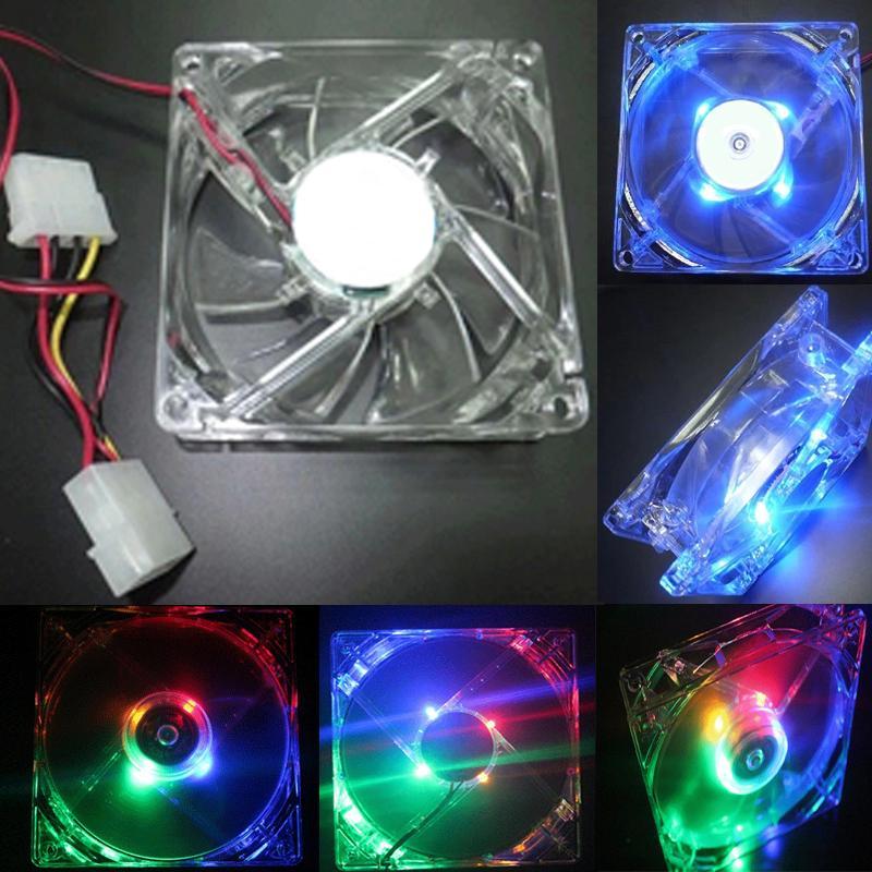 Purple Quad 4-LED Light Neon Quite Clear 120mm PC Computer Case Cooling Fan Mod