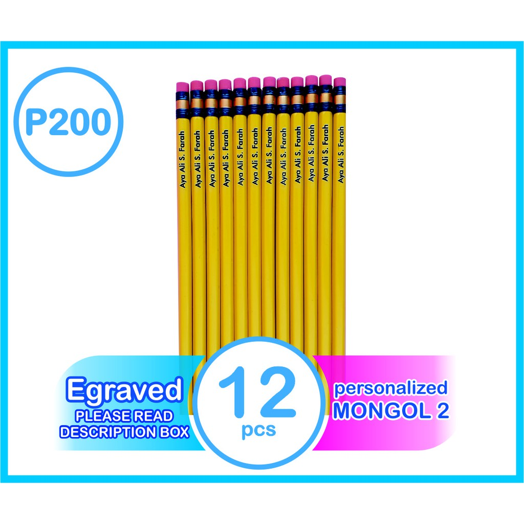 MONGOL #1,2,3 PERSONALIZED PENCILS ENGRAVED