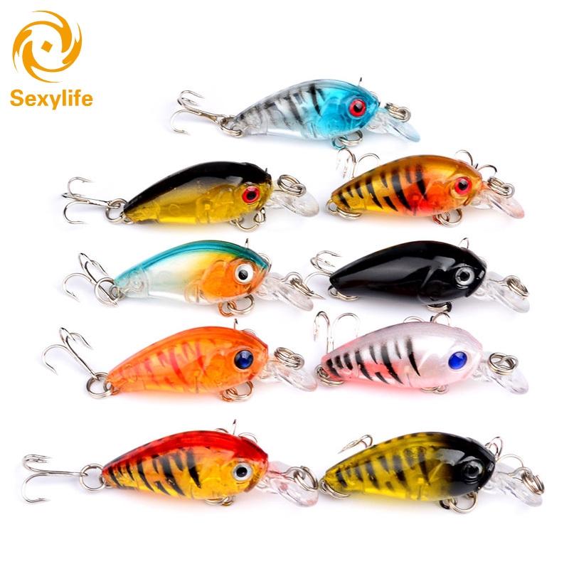 9pcs//mixed Fishing Lures Bass CrankBait Crank Bait Tackle Plastic Hooks 4.5cm EN