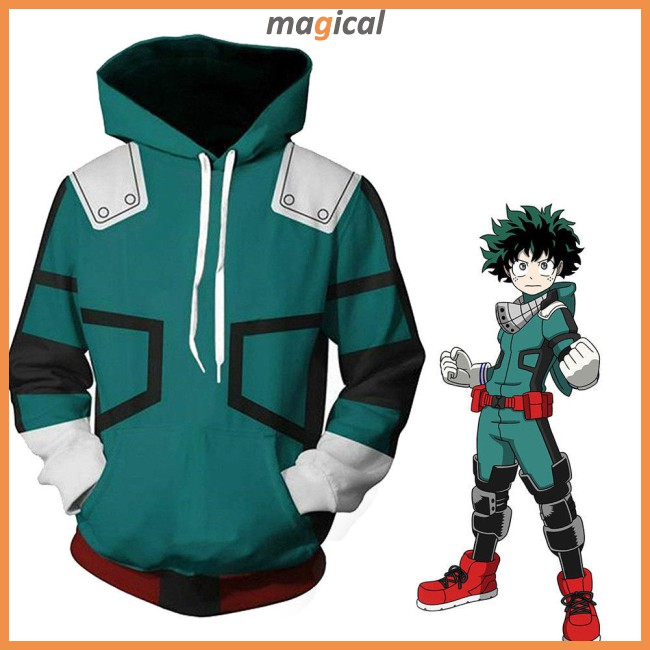 My Hero Academia Black Coat Hoodie Jacket Cosplay Costume Sweatshirt