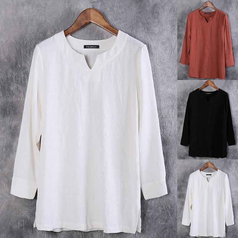 Men Cotton Linen T Shirts Plain Casual Baggy Summer Tops V Neck Long Sleeve Tees