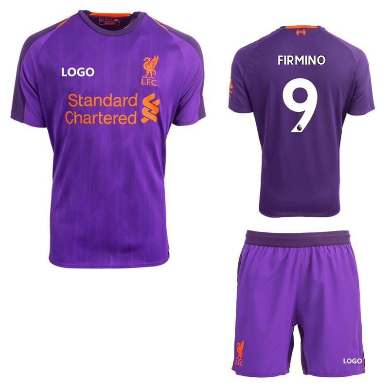 the best attitude 16b13 9ce93 2018/2019 Liverpool No.9 FIRMINO Away Kit Football Jersey Soccer  Shirt+Shorts