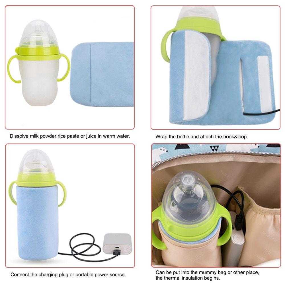 USB Bottle Warmer Bag Milk Feeding Thermal Insulation Outdoor Travel Portable