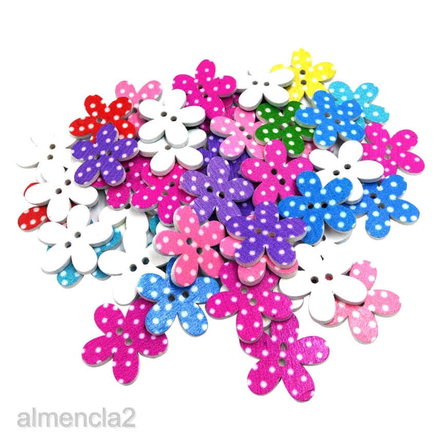 50Pcs Wood Dot Flower Buttons Wooden Sewing Buttons for Decoration 25mm