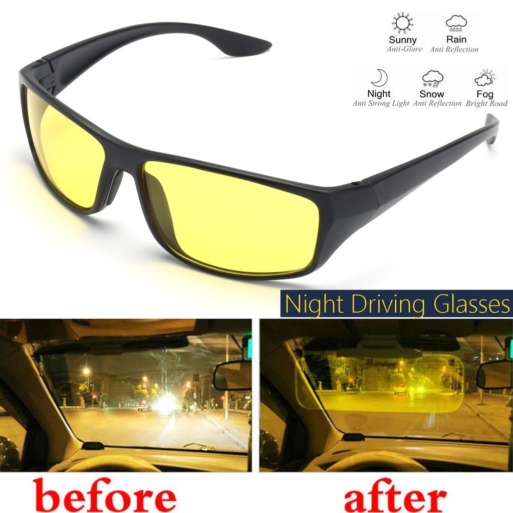 bc7011d7b9 Polarized Night Vision Driving Glasses Yellow Lense Anti Glare Driver  Safety
