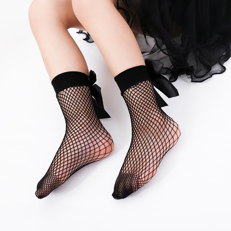 Cute Ruffle Ankle Mesh Lace Fishnet Big Bowknot Short Socks