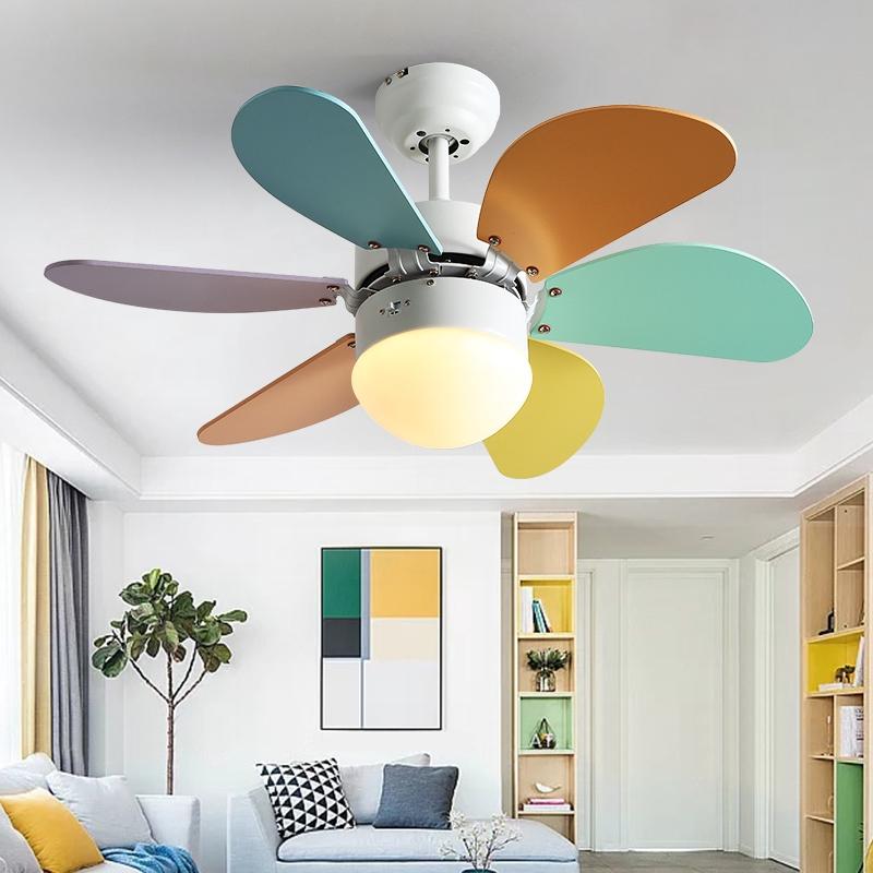 Kate Nordic Macaron Fan Light Ceiling Fan Light Kids Room Warm Fan Hanging Lamp Bedroom Creative Lamp Shopee Philippines