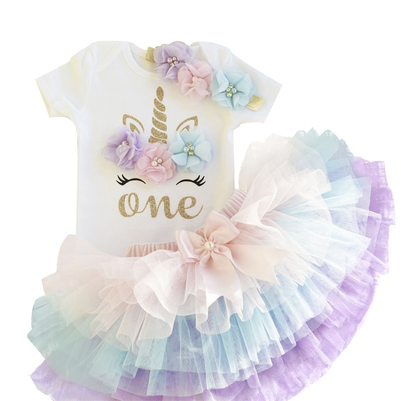 95f24dcf1a419 [NNJXD]Baby Girl Unicorn 1st Birthday Party Tutu Dress Clothes Sets