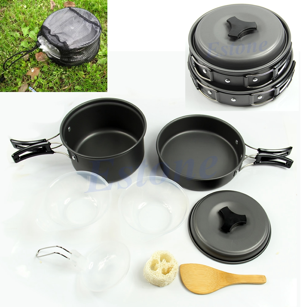 Portable Camping Cookware Backpacking Cooking Picnic Bowl Pot Pan 8pcs Set Shopee Philippines