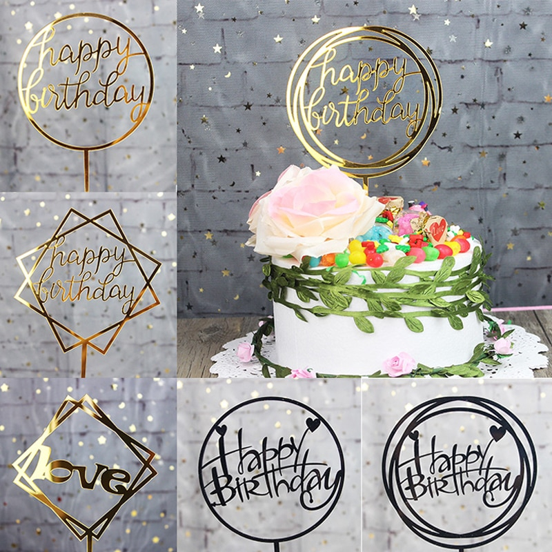 Admirable Glitter Happy Birthday Cake Topper Acrylic Letter Cake Top Flag Birthday Cards Printable Riciscafe Filternl