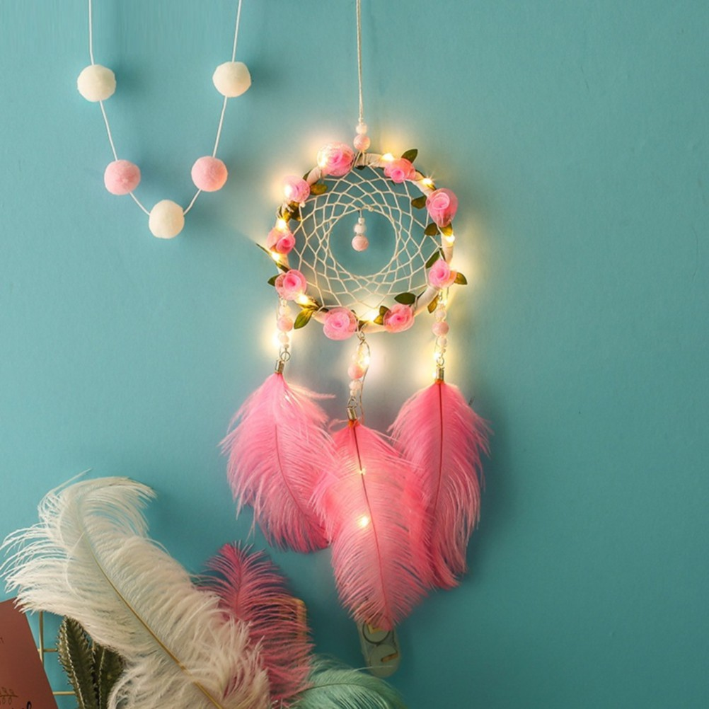 Pink Dreamcatcher With Light Handmade Indian Tradition Lucky Dream Catcher Bedroom Home Decor Shopee Philippines