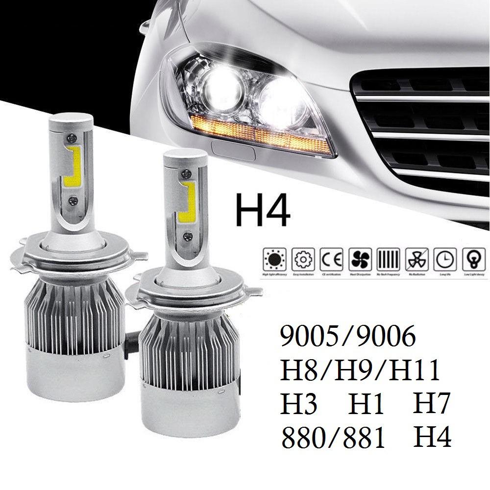 2pcs Car Lights Bulbs Led H4 9003 Hb2 C6 10800lm 120w Auto Headlamp Light Golden Car Headlight Bulbs 6000k Led Lamp Lights & Lighting Led Bulbs & Tubes