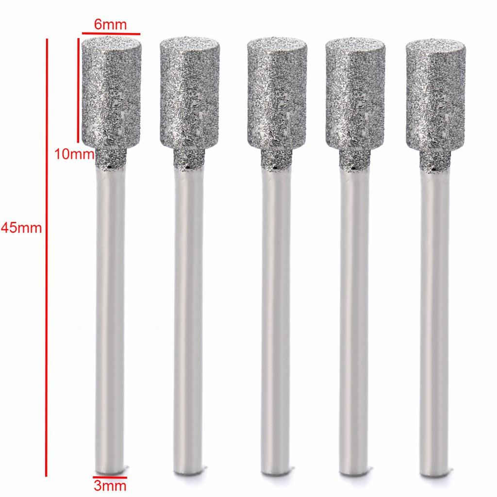 Different Shape Diamond Coated Tip 6mm Shank Grinding Burrs Bits 10mm 4Pcs