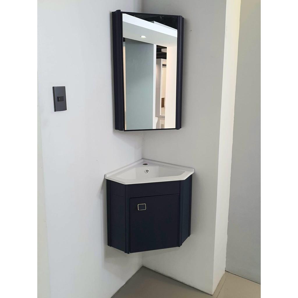 Corner Bathroom Vanity Cabinet With Mirro And Ceramic Sink Shopee Philippines