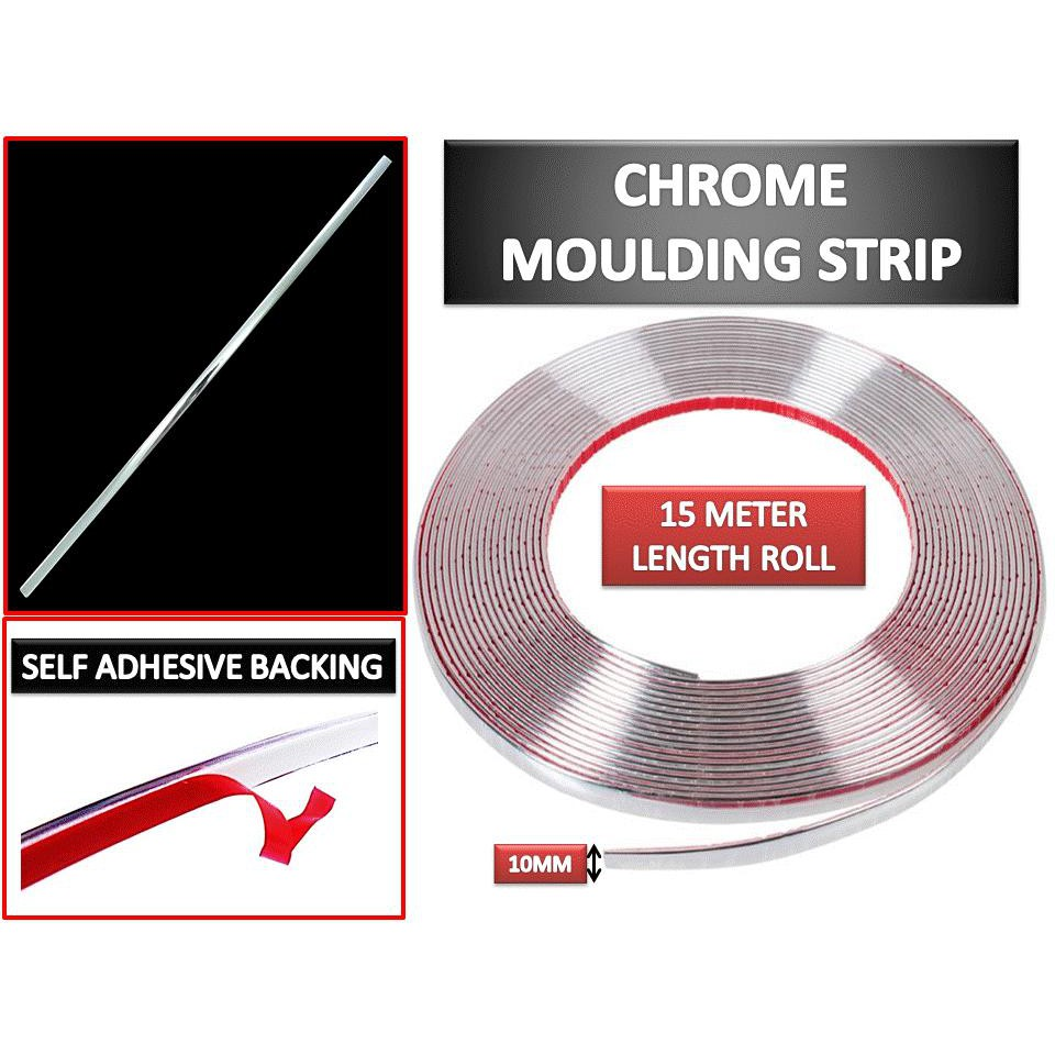 Chrome Trim Strip Moulding Self Adhesive Fits Interior Decoration 10mm X 15m