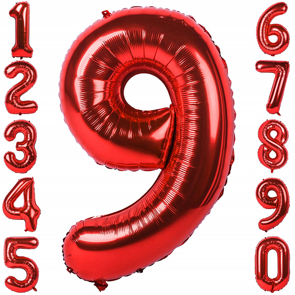 32 Inches Red Foil Number Balloons Number Helium Balloon