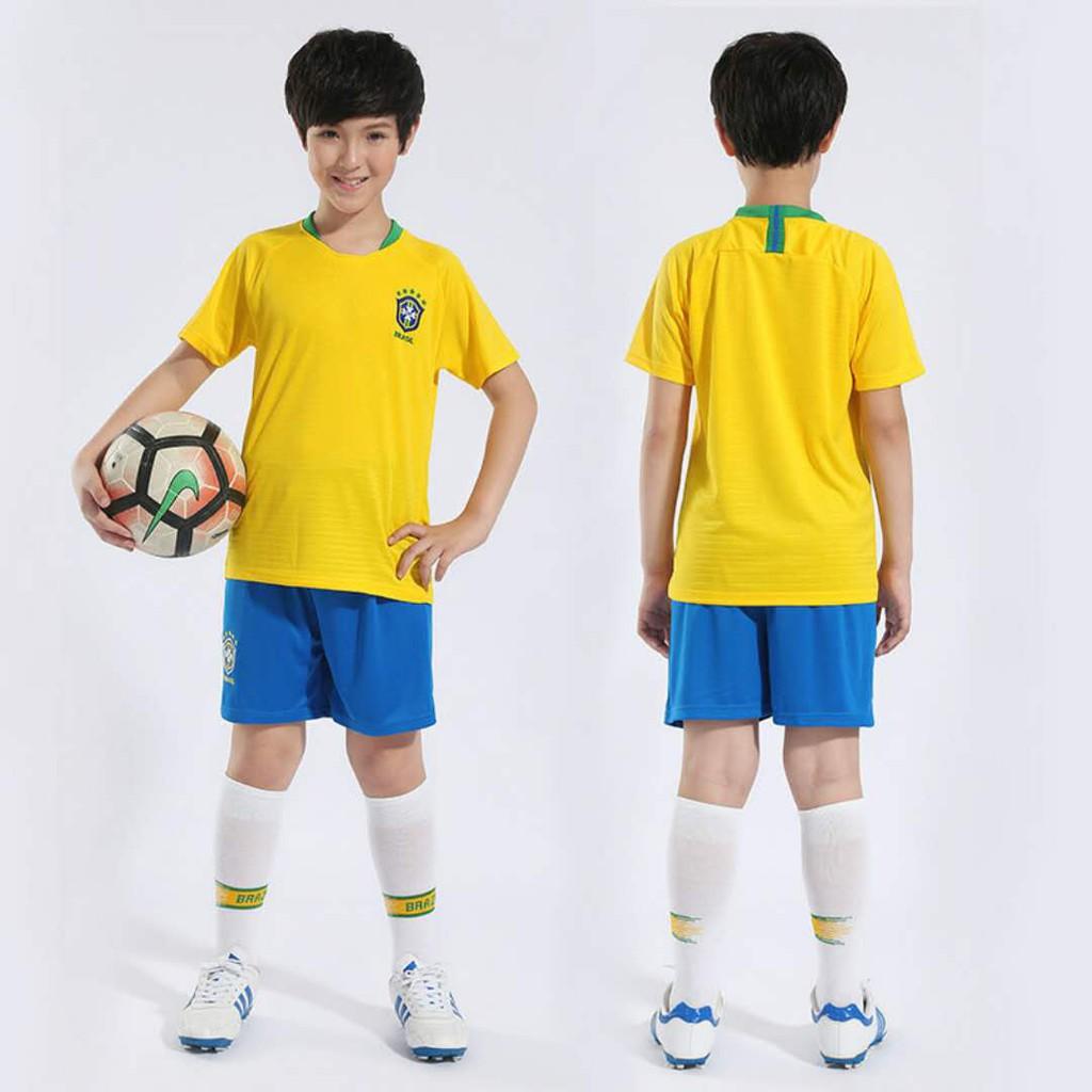 9a7b7f6ae1d 2018 World Cup Brazil Home Kids Jersey Football Uniform