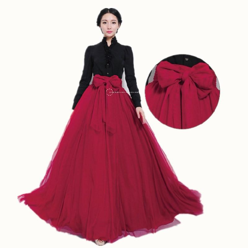 Womens Net Yarn Ball Gown Skirt Elastic High Waist Big Swing Pleated Maxi Skirts Shopee Philippines