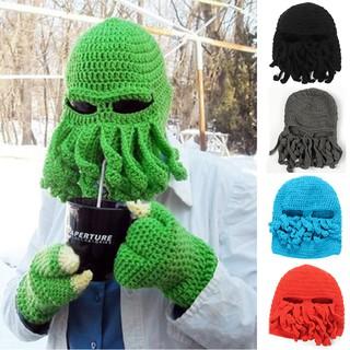 8f70e883ecf Unisex Octopus Beard Ski Hat Handmade Knitted Wool Full Face Mask Beanie Hat