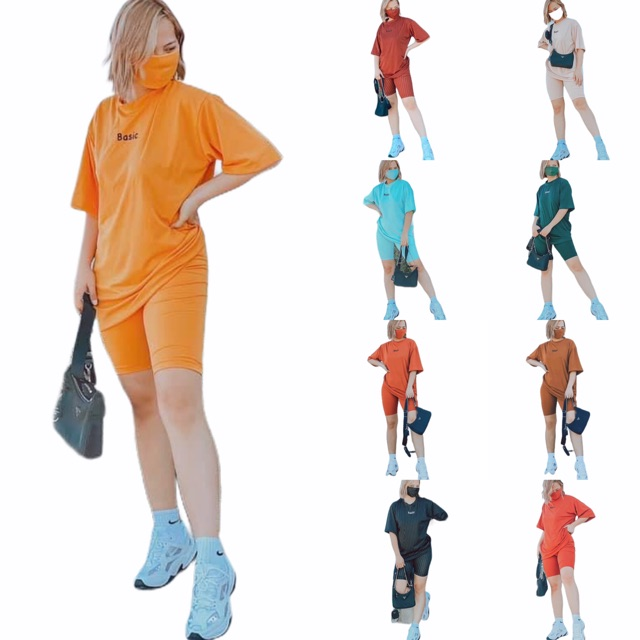 Tcc Hazeshop Loose Shirt Boyfriend T Shirt With Biker Shorts Terno Trending Tees Ootd Summer Shopee Philippines