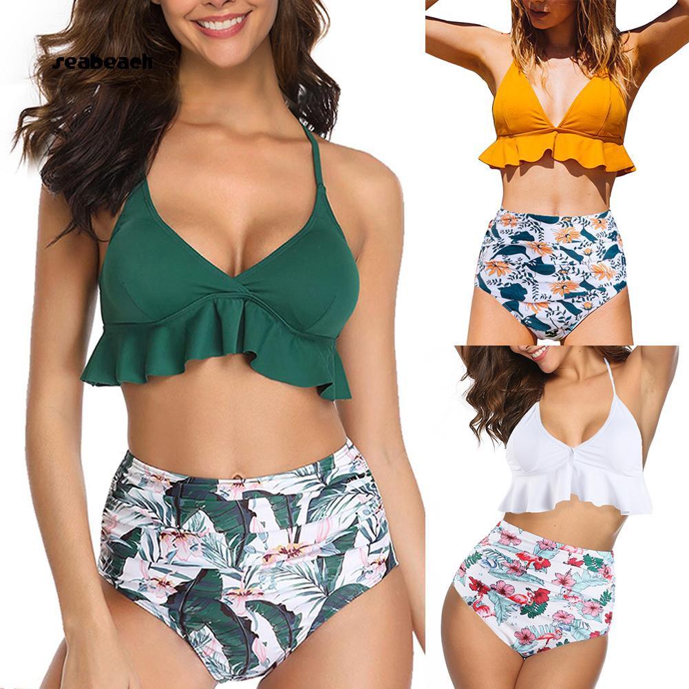 82990f007ebc5 Ruffled Bra Flower Leaves Print High Waist Women Bikini Set Two ...