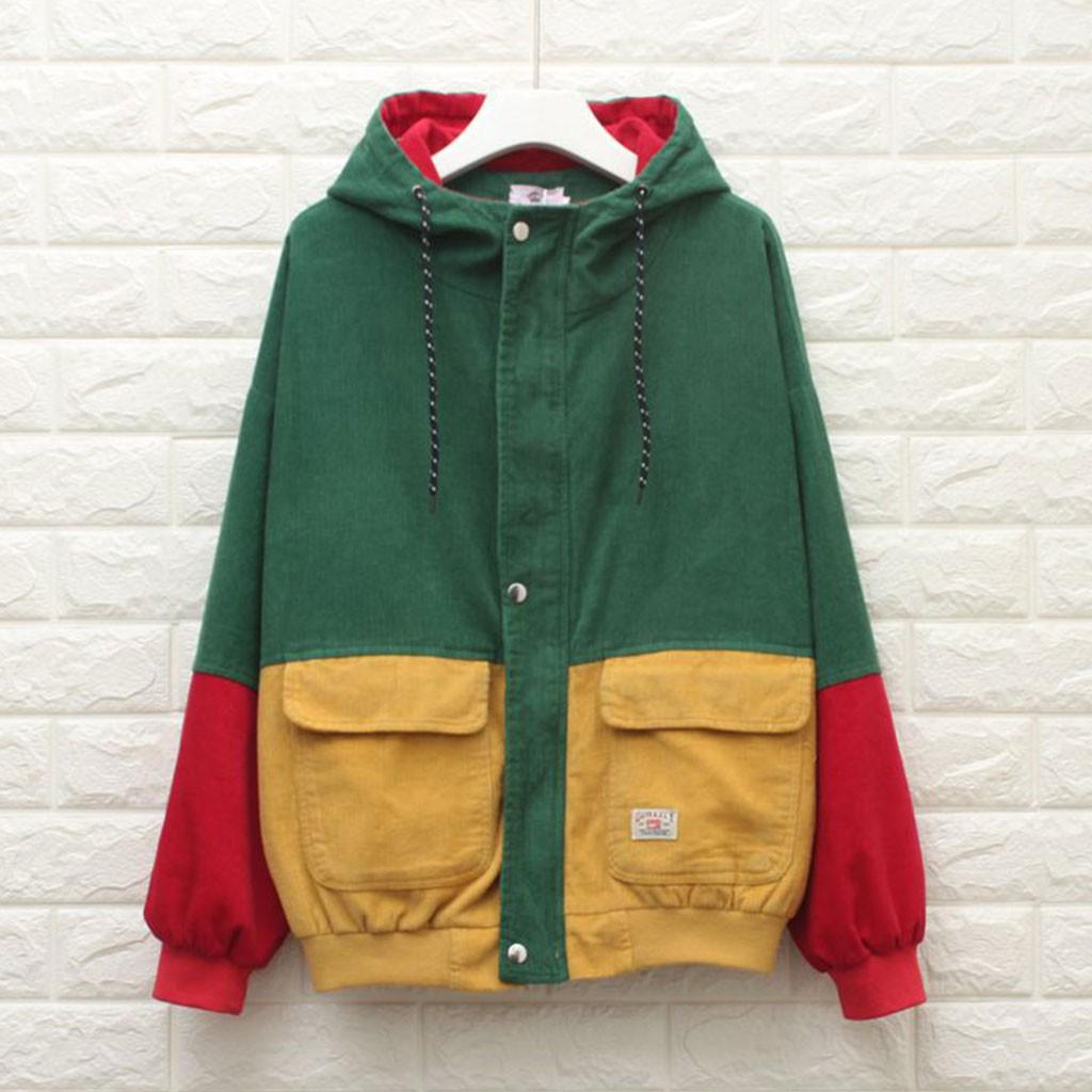 10f0e0fd6 Unisex Corduroy Hooded Jacket Hip Hop Coat Oversized
