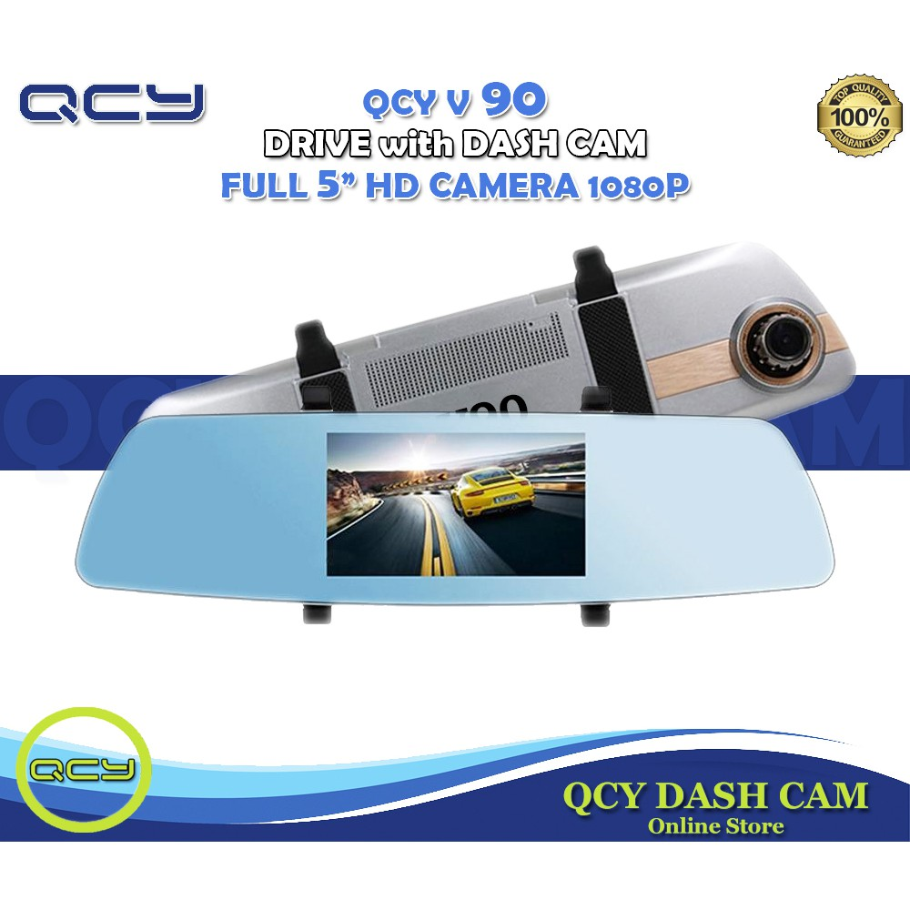 QCY V90 5 0 Inch Touch Screen Mirror Dual Lens Dashcam