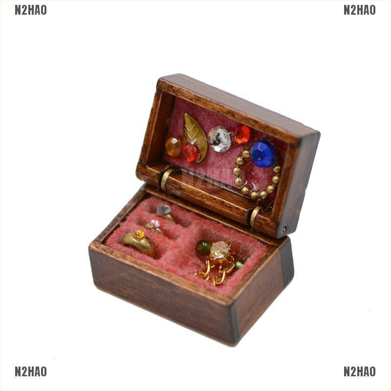 1:12 Scale Dollhouse Miniature Filled Wooden Jewelry Box Room Accessorie Decor