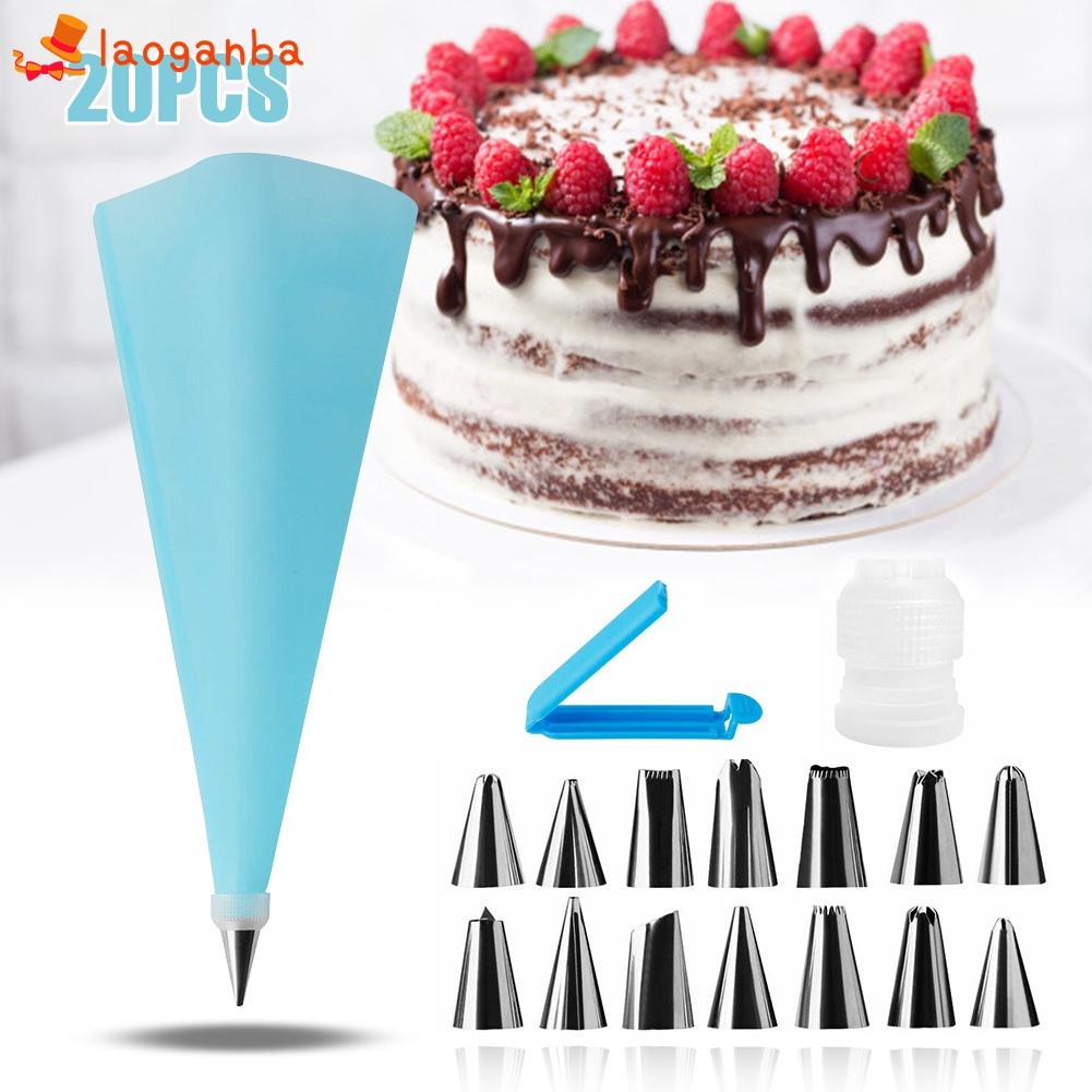 20Pcs/set Cake Decorating Kit Piping Bag Icing Tips ...