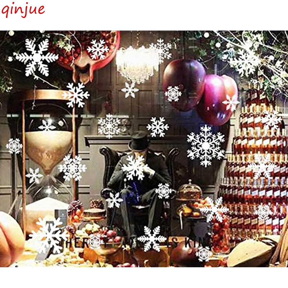 20 Snowflake Window Sticker Decoration Reusable Clings Xmas Christmas Home Decor